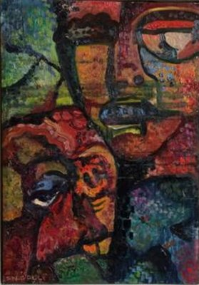 Jean Paul Vroom - vrouwengezichten - 63 x 47 cm - olieverf op doek - ingelijst