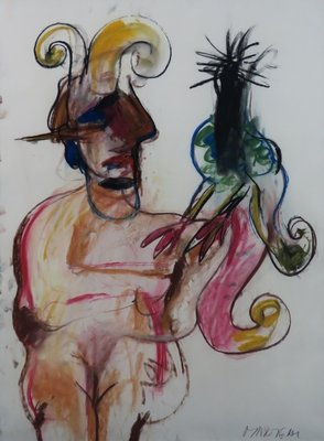 Anton Martineau - Vrouw met vogel - 102 cm x 76 cm - Pastel krijt tekening