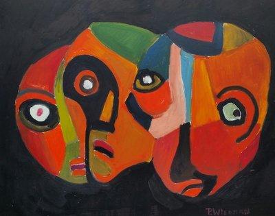 Piet Wiegman II - Faces - ingelijst