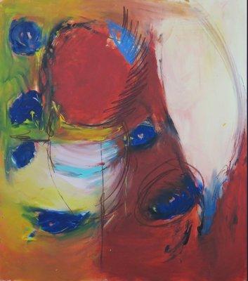 Catherine Megens (Saire) - Mexico 10 - 77 x 68 cm - acryl en krijt op papier, op board - ingelijst