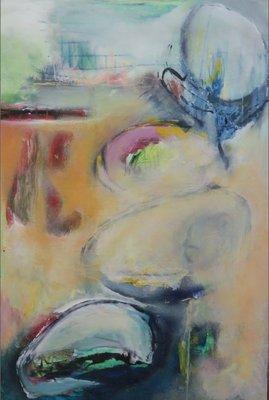 Catherine Megens (Saire) - zonder titel - 87 x 59 cm - acryl en krijt op papier, op paneel - ingelijst