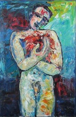 Franca Muller Jabusch - A men's heart - 120 x 80 cm - olieverf op doek