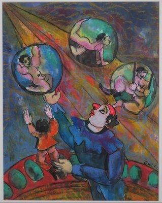 Franca Muller Jabusch - Clown fantasie - 60 x 50 cm - gemengde techniek op papier