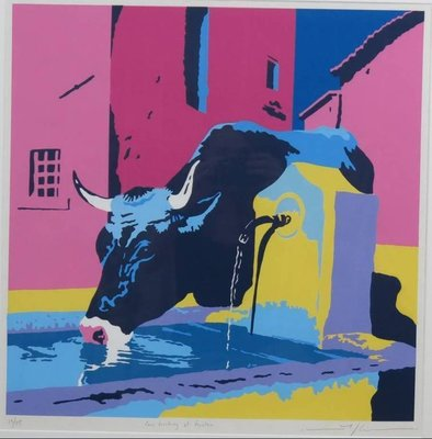 Marco Kooiman - Cow drinking at fountain - Ingelijst