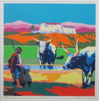 Marco Kooiman - Drinking oxen - Ingelijst