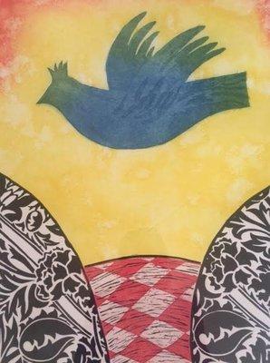Eliza Kopec - Donderkop met vogel - Ingelijst