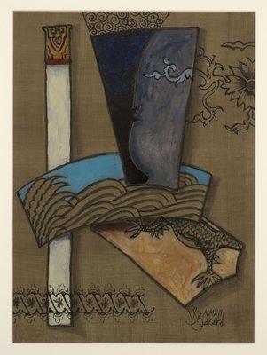 Valentin Bakardjiev - Abstract II - 83 cm x 68 cm - Gouache op papier - ingelijst