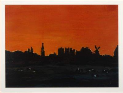 Valentin Bakardjiev - Sunsetting I - 59 cm x 74 cm - Gouache op papier - ingelijst