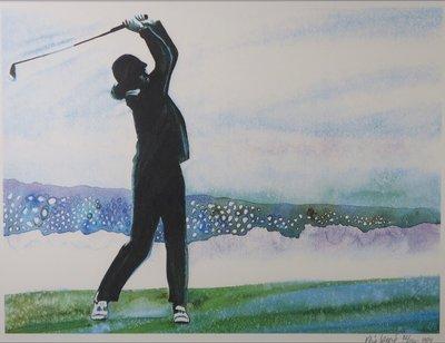 René Broné - Playing Golf at Pebble Beach - 75,5 x 95,5 cm - Zeefdruk op papier - ingelijst