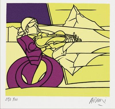 Valerio Adami - Studio per fantasia per violin - 27,5 x 28,5 cm - Zeefdruk op papier