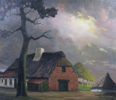 Theodore Op De Beeck - Boerderij op de Kempen - 78 x 87 cm - Olieverf op doek - ingelijst