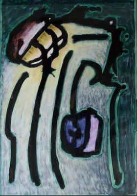 Hans Blekkink - Electric Aladin - 101 x 71 cm - Gouache op papier - ingelijst