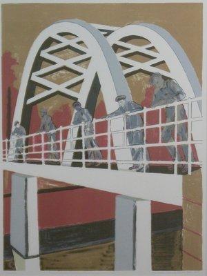 Hans Ebeling Koning - Brug (Links) - 103 x 83 cm - zeefdruk op papier - ingelijst