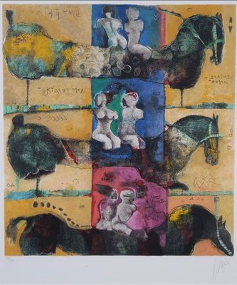 Astrid Engels - zonder titel - 82 x 71,5 cm - Litho op papier - ingelijst