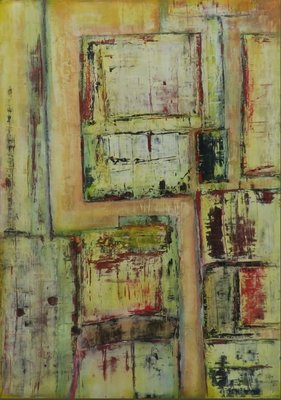 Arie Geurts - zonder titel - 85,5 x 75,5 cm - acryl op papier - aluminium ingelijst