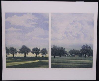 Hans Heijman - Bomen aan de dijk/ Boerderij in landschap - Dubbele ets op papier - 41,5 x 50 cm