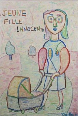Jan van Holthe - Jeune fille innocente - 113,5 x 79 cm - olieverf op doek - ingelijst