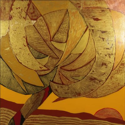 Ronald Boonacker - Palm - 157,5 x 157,5 cm x - Acryl op doek - ingelijst