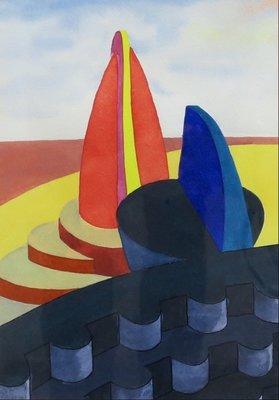 Michiel Schierbeek - zonder titel - 44 x 36,5 cm - Aquarel op papier - ingelijst
