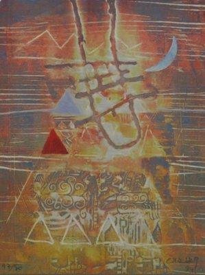 Chabab Tayefeh Mohajer - Moonplayer - Ets op papier - 51,5 x 61,5 cm - Aluminium ingelijst