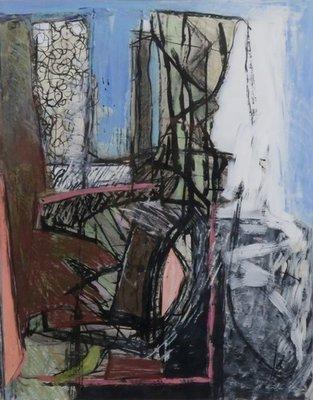 Lambert Oostrum - Zonder titel - 91,5 x 71,5 cm - Acrylverf op papier - ingelijst