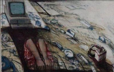 Peter Wever - Abgesturtzt - Ets op papier - 77,5 x 96 cm - ingelijst
