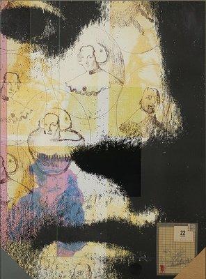 Harald Vlugt - Spring - 83 x 63 cm cm - zeefdruk en collage op papier - ingelijst