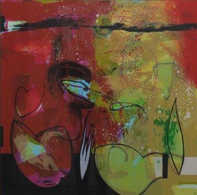 Pieter Vermeulen - Op tafel staat - 85 x 84 cm - zeefdruk op papier - aluminium ingelijst