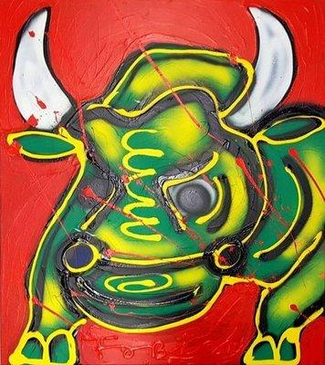 Fabian - De Stier - 90 cm x 90 cm x 4 cm - acrylverf en dikke verf belijning op doek
