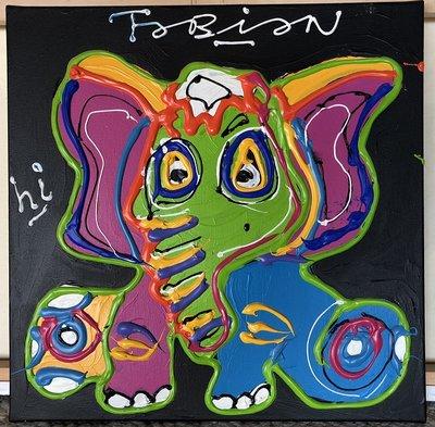Fabian - Elephant Parade - 50 cm x 50 cm - acrylverf en dikke verf belijning op doek
