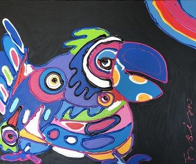 Fabian - Lucky Bird - 120 cm x 100 cm x 4 cm - acrylverf en dikke verf belijning op doek