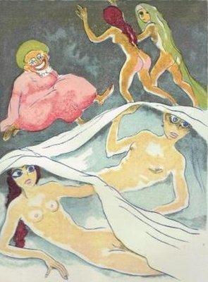 Kees van Dongen - Cannes a sucre et Aboul-Hassan, uit Le livre des mille et une nuits - passe-partout 24 x 30 cm - Houtgravure