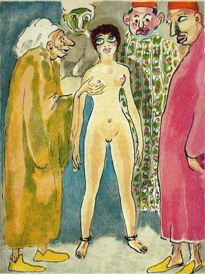 Kees van Dongen - Les Expert, uit Le livre des mille et une nuits - passe-partout 24 x 30 cm - Houtgravure