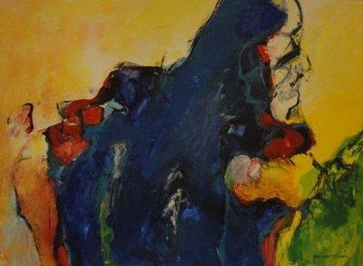 Jos van Beek - Compositie - 90 x 70 cm - acrylverf op papier