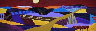 Ronald Boonacker - Route du Soleil - 40 x 120 cm - Met acrylverf verhoogde zeefdruk op paneel