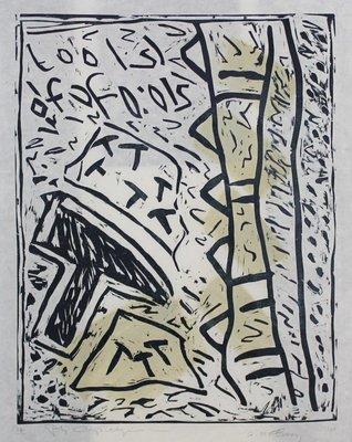 Peter Capiteijns - Rock on Wood serie 1 - 72 x 52 cm - Lithografie op zwaar papier/karton