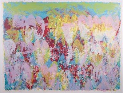 Jan Cremer - z.t. I -  126 x 161 cm - zeefdruk op papier - in houten lijst