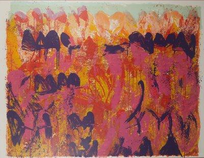Jan Cremer - z.t. II -  126 x 161 cm - zeefdruk op papier - in houten lijst