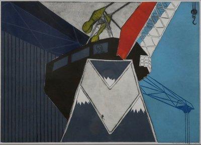 Jan Willem Kwinkelenberg - Op gedroomde hoogte - 76 x 98 cm - Gemengde druktechnieken op papier - in houten lijst