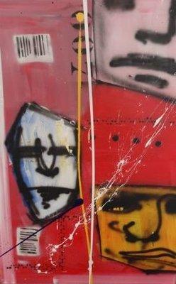Espen Greger Hagen - zt - 100 x 150 cm - acryl en spuitbus met diverse sjablonen op linnen