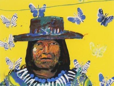 Espen Greger Hagen - Indian Bolivian III - 63 x 73 cm - zeefdruk op papier - ingelijst