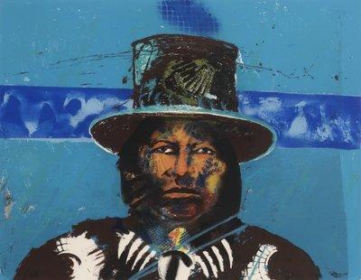 Espen Greger Hagen - Indian Bolivian II - 63 x 73 cm - zeefdruk op papier - ingelijst