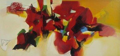 Pieter Vermeulen - Geschikt rood - 69,5 x 115 cm - zeefdruk op papier - in aluminium lijst