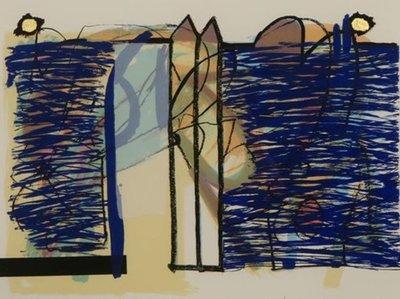 Pieter Vermeulen - zonder titel I - 73 x 86,5 cm - zeefdruk met bladgoud op papier - in zwarte houten lijst