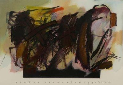 Pieter Vermeulen - zonder titel III - 73 x 86,5 cm - Gemengde techniek op papier - in zwarte houten lijst