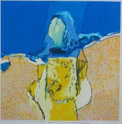 Henk van Vessem - Als een gouden ader loopt je jeugd door dit landschap - 88 x 83 cm - zeefdruk op papier - in houten lijst