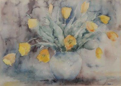 Anneke Witte - zonder titel I - Aquarel op papier - 70,5 x 91 cm - in aluminium lijst