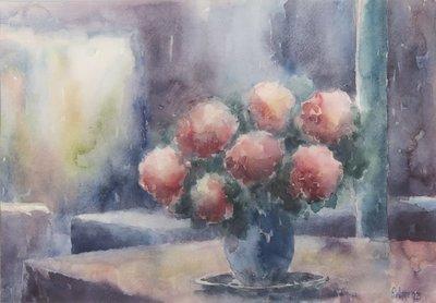 Anneke Witte - zonder titel IV - Aquarel op papier - 51 x 66 cm - in aluminium lijst