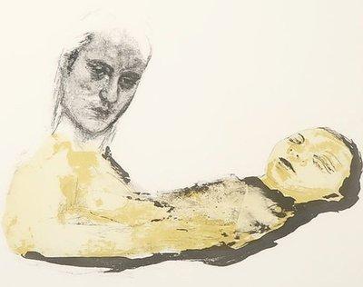 Marianne Aartsen - Duo - 83 x 109 cm - litho op papier - in houten lijst