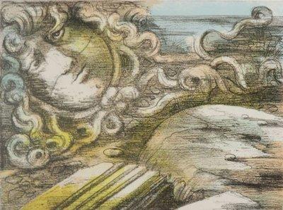 Eugene Berman - zonder titel - 46,5 x 61,5 cm - Litho op papier